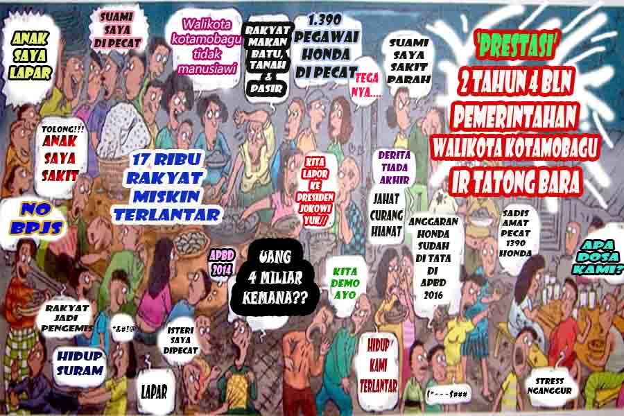 Karikatur Ilustrasi Jeritan Rakyat Kota Kotamobagu Semasa 2,4 Tahun Pemerintahan Walikota Kotamobagu Ir Tatong Bara