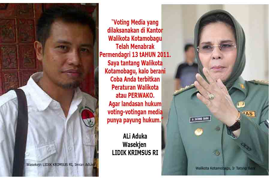 Wasekjen LIDIK KRIMSUS Ali Imran Aduka dan Walikota Kotamoagu Ir Tatong Bara. (Foto : dok Istimewa/kotamobagu post)