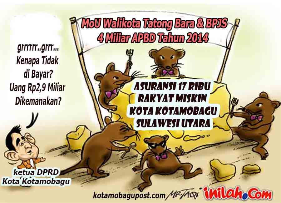 karikatur dugaan korupsi anggaranBPJS oleh Dinas Kesehatan Kota Kotamobagu.