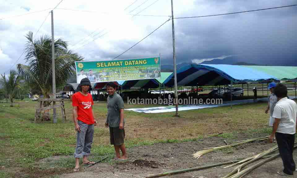 Lokasi Kegiatan Percekatan Sawah di Desa Mototabian Kecamatan Dumoga yang diresmikan Menteri Pertanian.