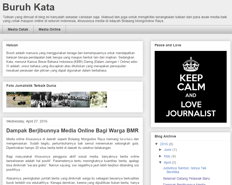 blogspot gratisan tampil bagai superbody PERS untuk mengabdikan diri pengkritik media massa di Bolmong Raya.