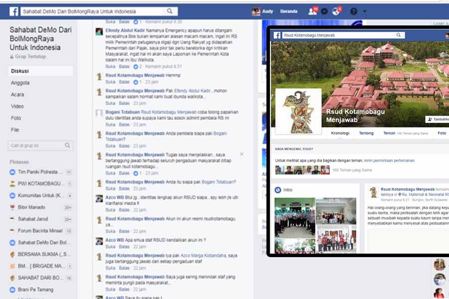 "Akun FB RSUD Kotamobagu ""Lancang 'Seret' Walikota Tatong Bara Dalam Konflik Diskusi Pelayanan IGD"""