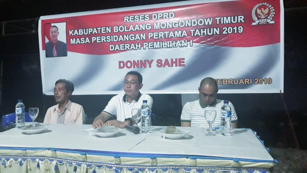 Komisi III DPRD Boltim Donny Sahe, Gelar Reses di Dapil I