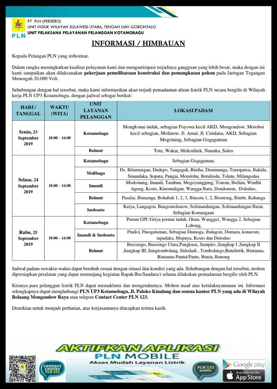 Pengumuman Jadwal Pemadaman Listrik Terencana 23-29 September 2019 Kawasan Bolmong Raya