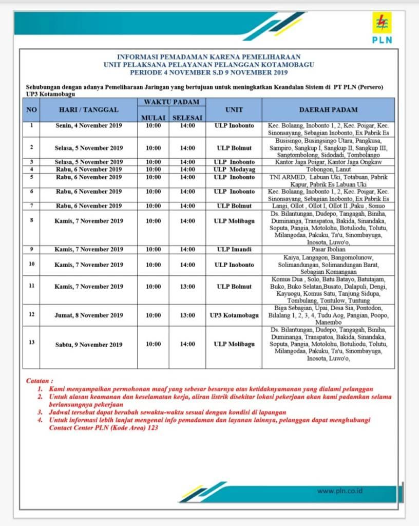 Pengumuman Pemadaman Listrik Terjadwal 04-09 November 2019, Wilayah PLN UP3 Kotamobagu