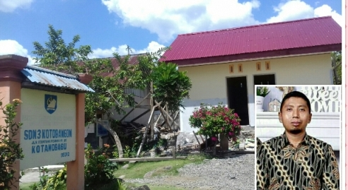 Guru dan Murid SDN 3 Kotobangon Bersyukur Pembangunan Jamban Bersumber DAK