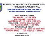 Jam Kerja ASN Kabupaten Bolmong Diubah