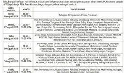 PLN Area Kotamobagu Umumkan Jadwal Pemadaman Listrik BergilirMulai Tanggal 06-11 Agustus 2018