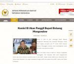 Situs Resmi DPR RI, Umumkan Pemanggilan Bupati Bolmong