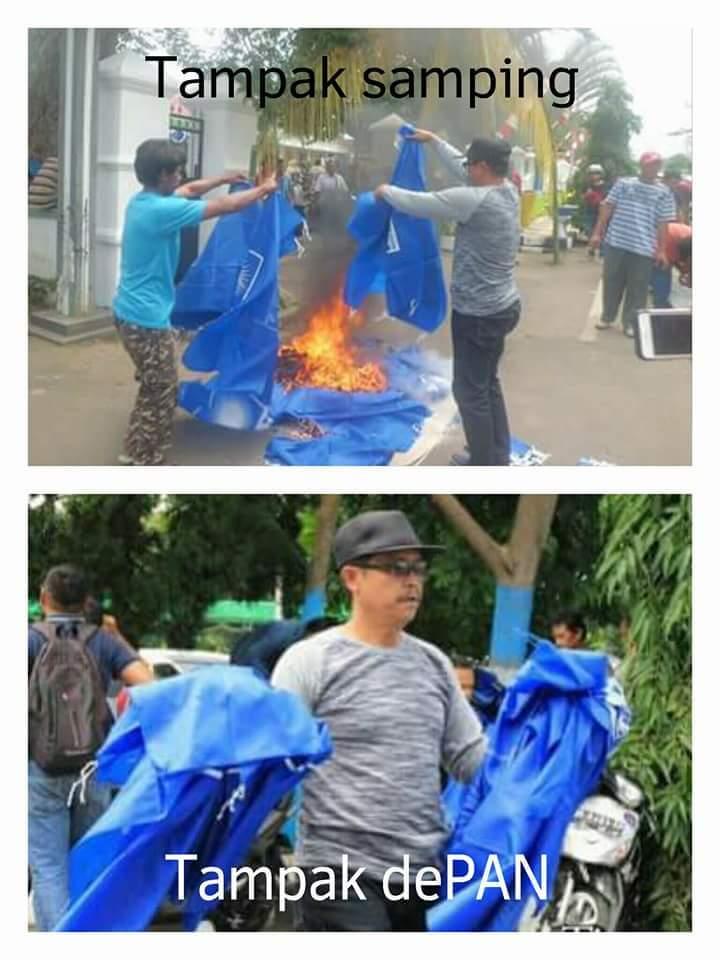 Kasi pembakaran bendera PAN pada 16 Mei 2016 sidepan rumah dinas Walikota Tatong Bara (dok : FB)