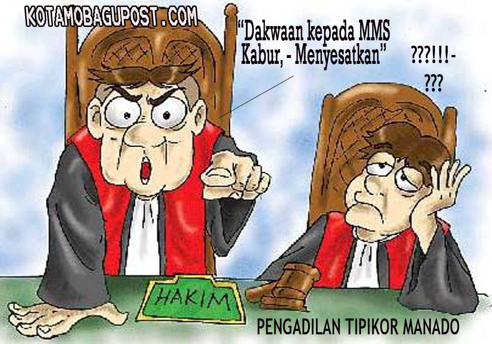 Karikatur Ilustrasi Sidang Putusan Pengadilan Tipikor Manado dalam Perkara MMS, kasus Dugaan Korupsi Dana TPAPD Tahun 2010.