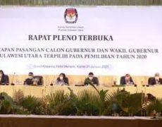 KPU Sulut Tetapkan Pasangan OD-SK Pemenang Pilgub Sulut 2020